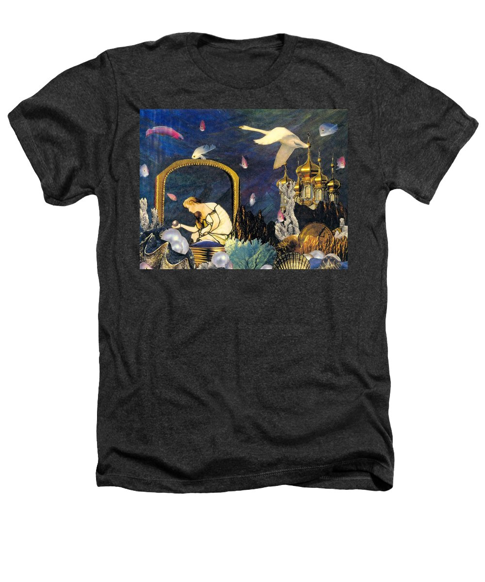 Surealism Heathers T-Shirt featuring the mixed media The Pearl Of Great Price by Gail Kirtz