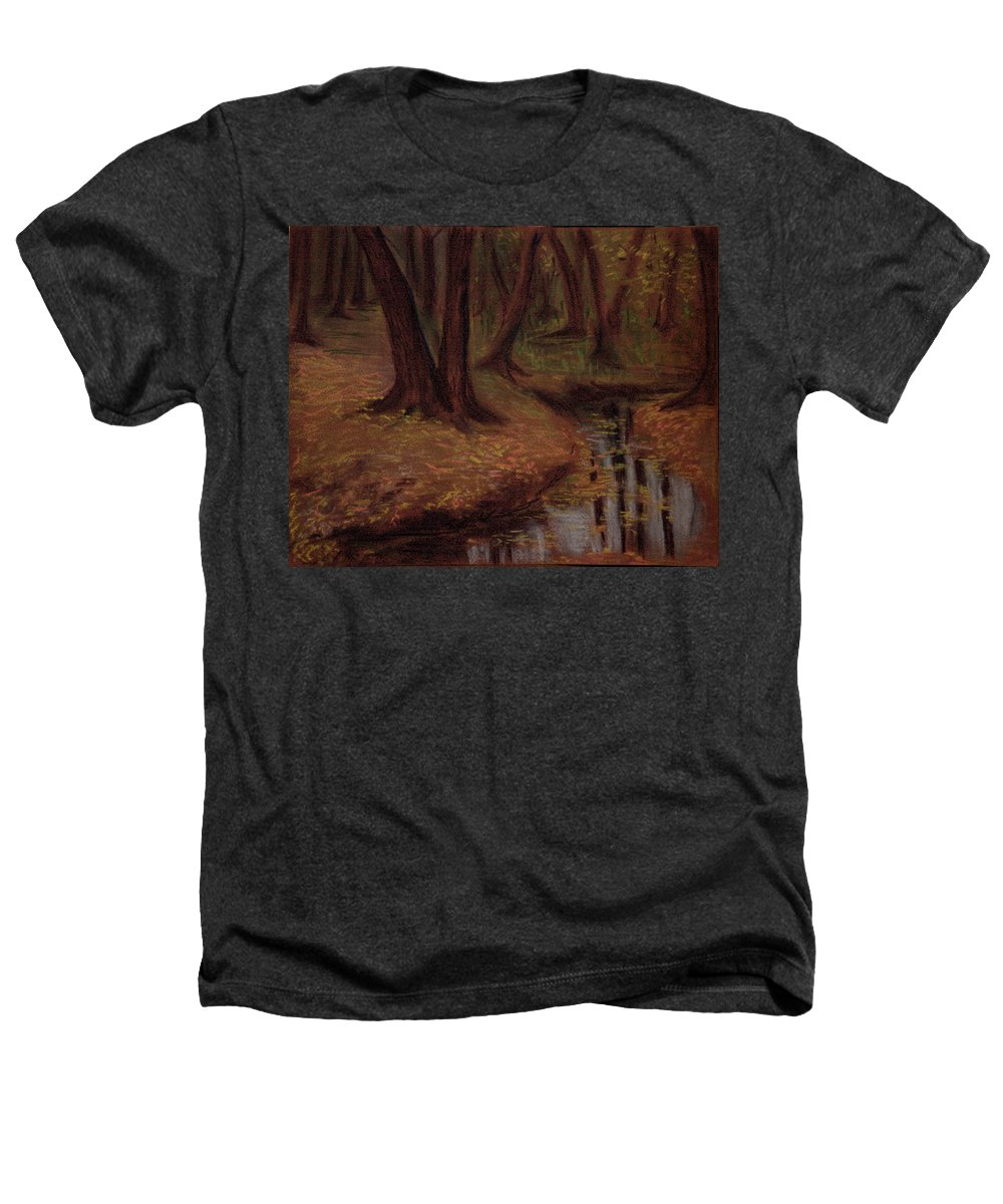 Woods Heathers T-Shirt featuring the pastel The Woods Are Deep And Dark by Asha Sudhaker Shenoy