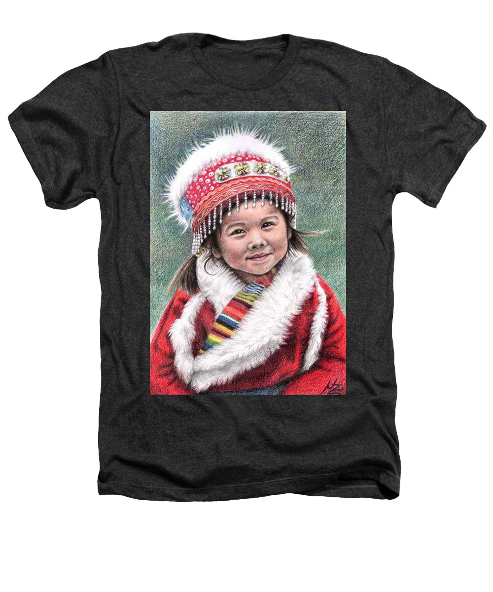 Girl Heathers T-Shirt featuring the drawing Tibetan Girl by Nicole Zeug