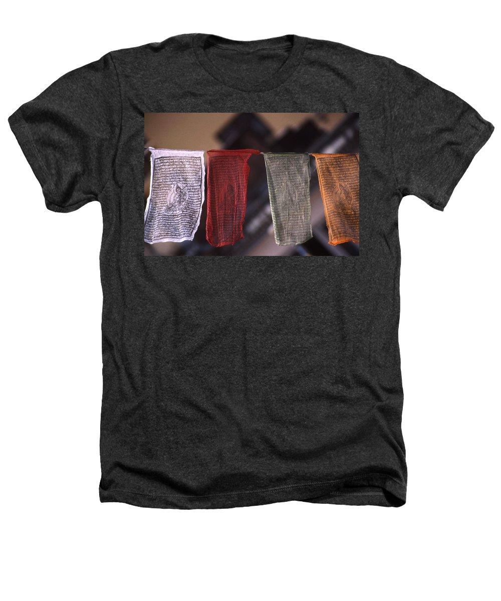 Prayer Flag Heathers T-Shirt featuring the photograph Tibetan Prayer Flags by Patrick Klauss