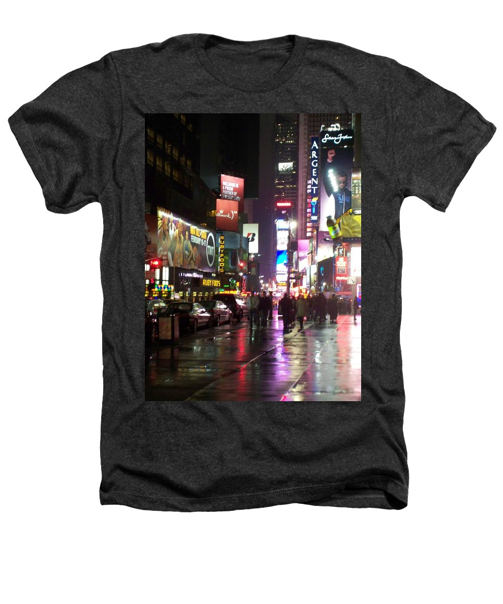 Times Square Heathers T-Shirt featuring the photograph Times Square In The Rain 1 by Anita Burgermeister