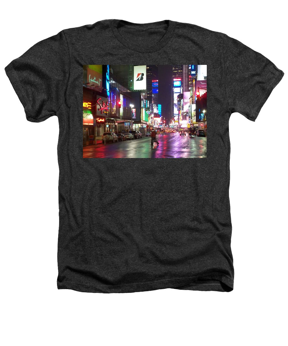 Times Square Heathers T-Shirt featuring the photograph Times Square In The Rain 2 by Anita Burgermeister