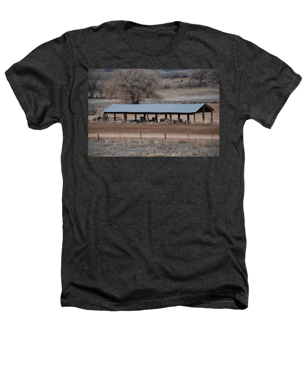 Architecture Heathers T-Shirt featuring the photograph Tractor Port On The Ranch by Rob Hans