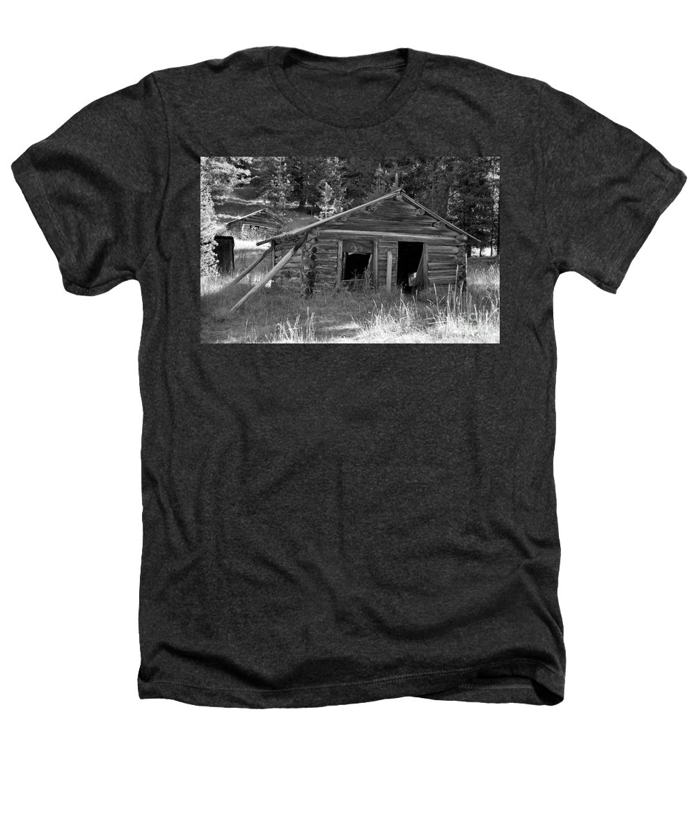 Abandoned Heathers T-Shirt featuring the photograph Two Cabins One Outhouse by Richard Rizzo