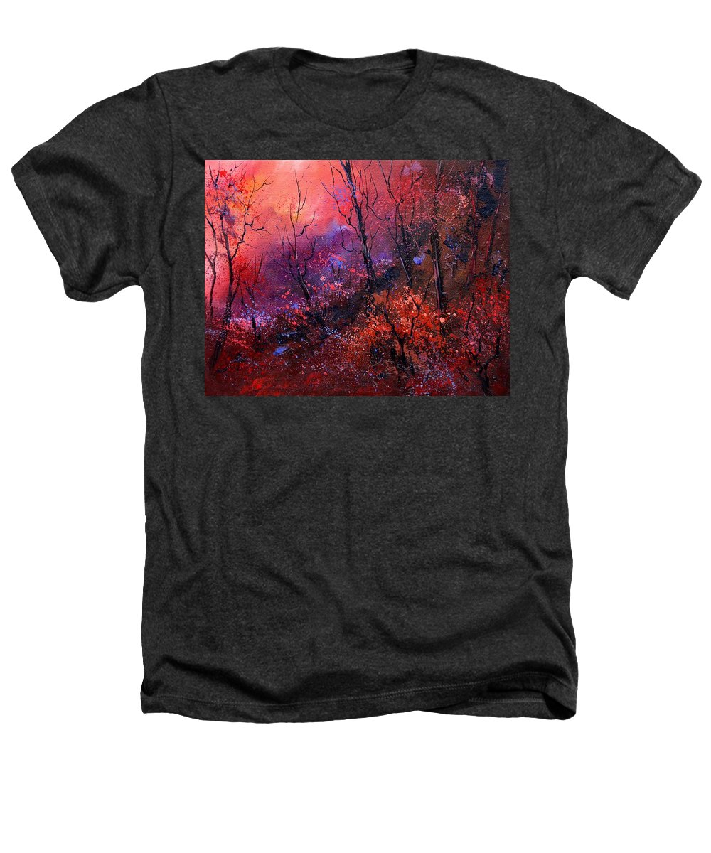 Wood Sunset Tree Heathers T-Shirt featuring the painting Unset In The Wood by Pol Ledent