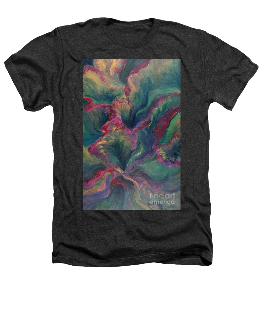 Leaves Heathers T-Shirt featuring the painting Vibrant Leaves by Nadine Rippelmeyer