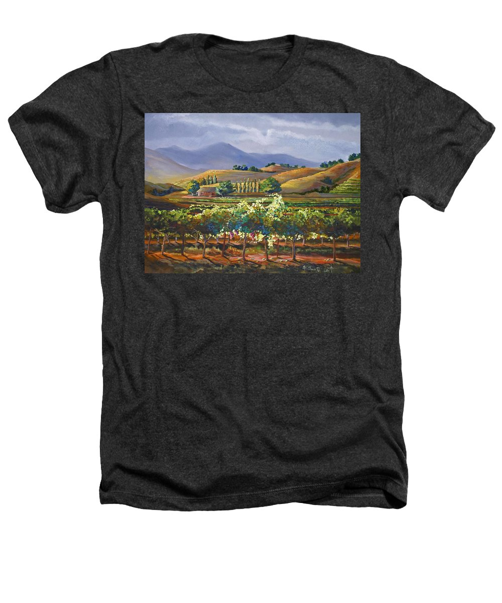 Vineyard Heathers T-Shirt featuring the painting Vineyard In California by Heather Coen