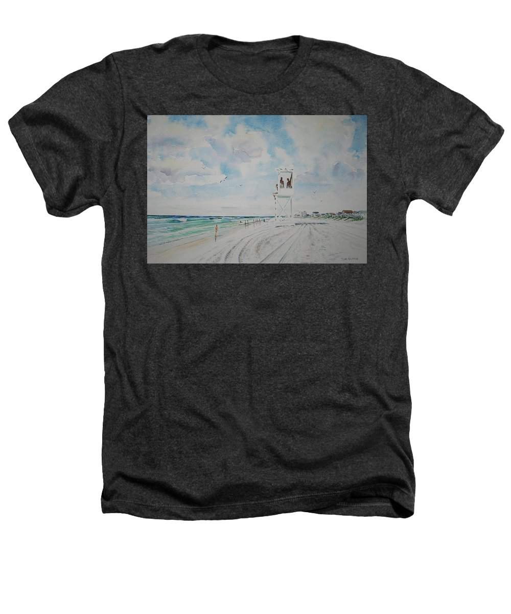 Ocean Heathers T-Shirt featuring the painting Waiting For The Lifeguard by Tom Harris