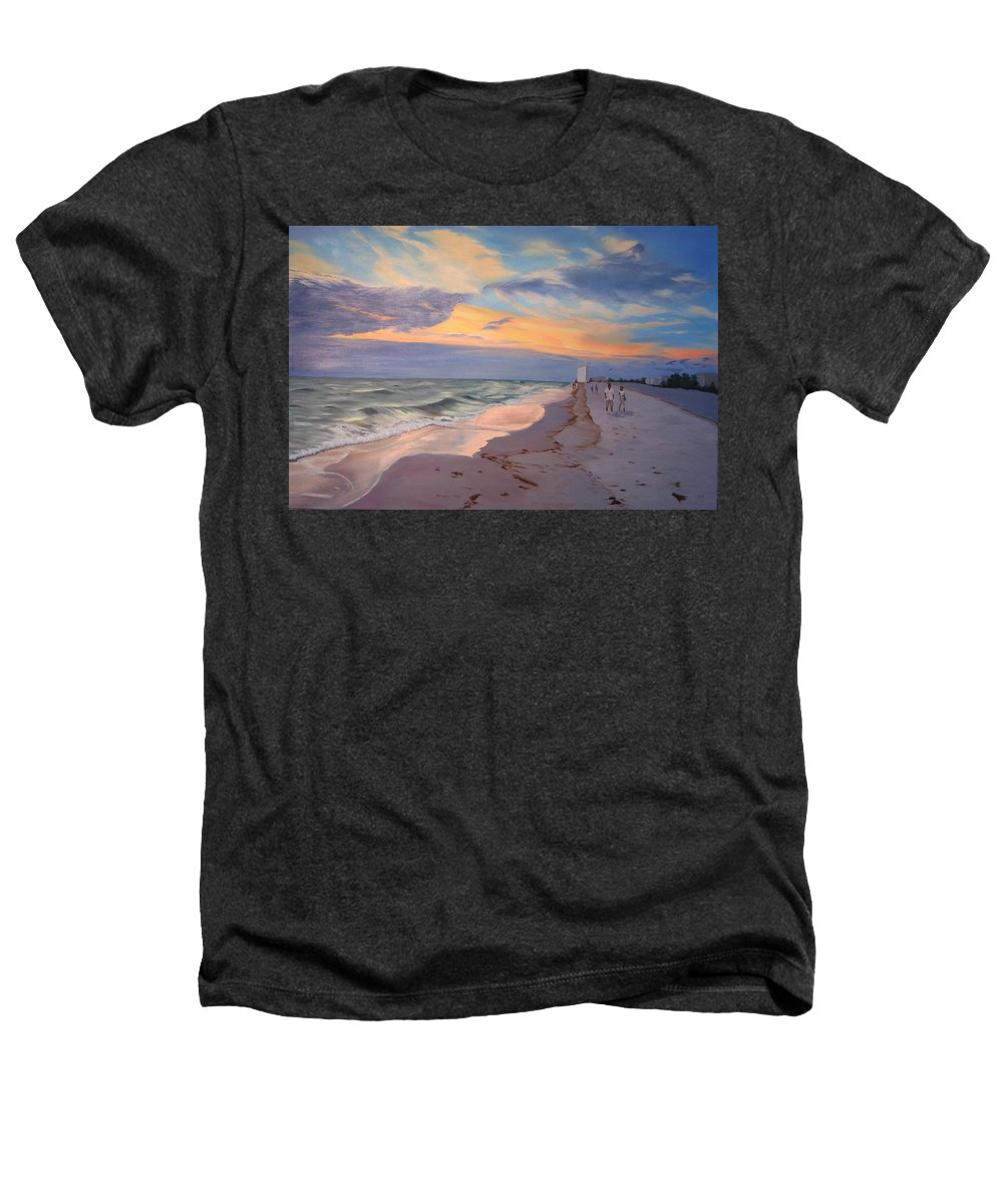 Seascape Heathers T-Shirt featuring the painting Walking On The Beach At Sunset by Lea Novak