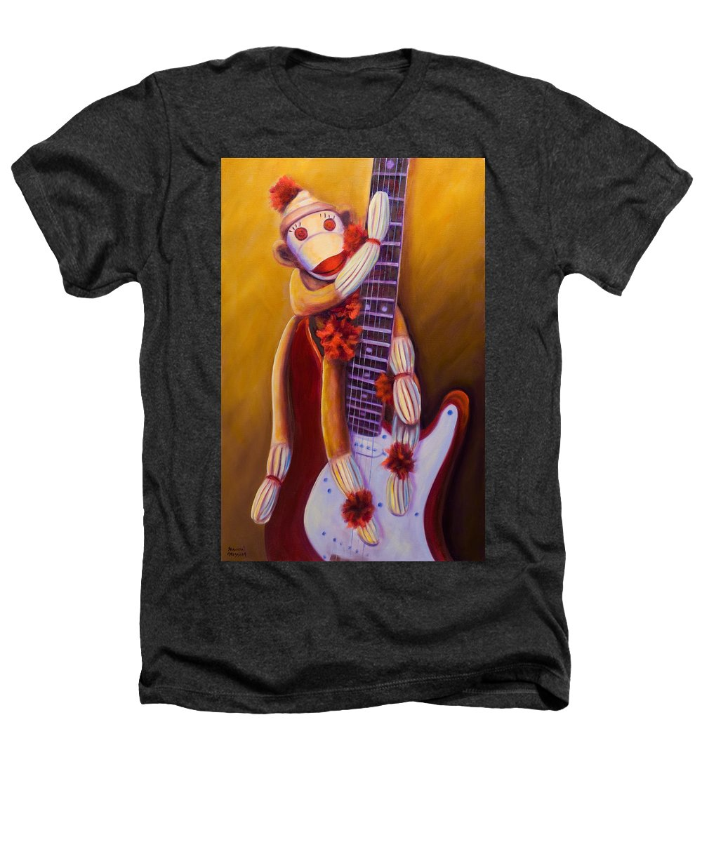 Monkey Heathers T-Shirt featuring the painting Wanna Be A Rocker by Shannon Grissom
