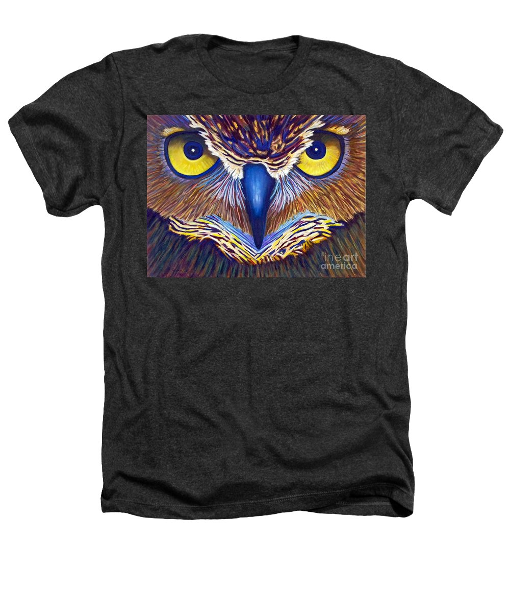 Owl Heathers T-Shirt featuring the painting Watching by Brian Commerford