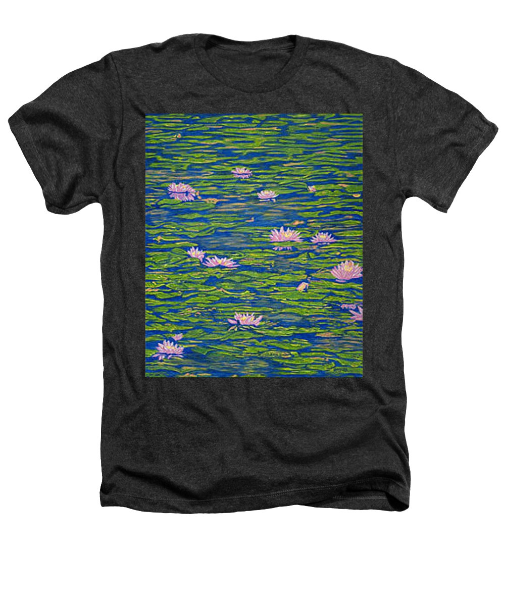 Lotuses Heathers T-Shirt featuring the drawing Water Lily Flowers Happy Water Lilies Fine Art Prints Giclee High Quality Impressive Color Lotuses by Baslee Troutman