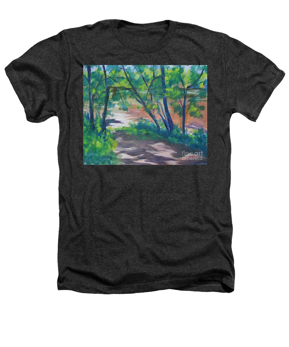 Landscape Heathers T-Shirt featuring the painting Watercress Beach On The Current River  by Jan Bennicoff