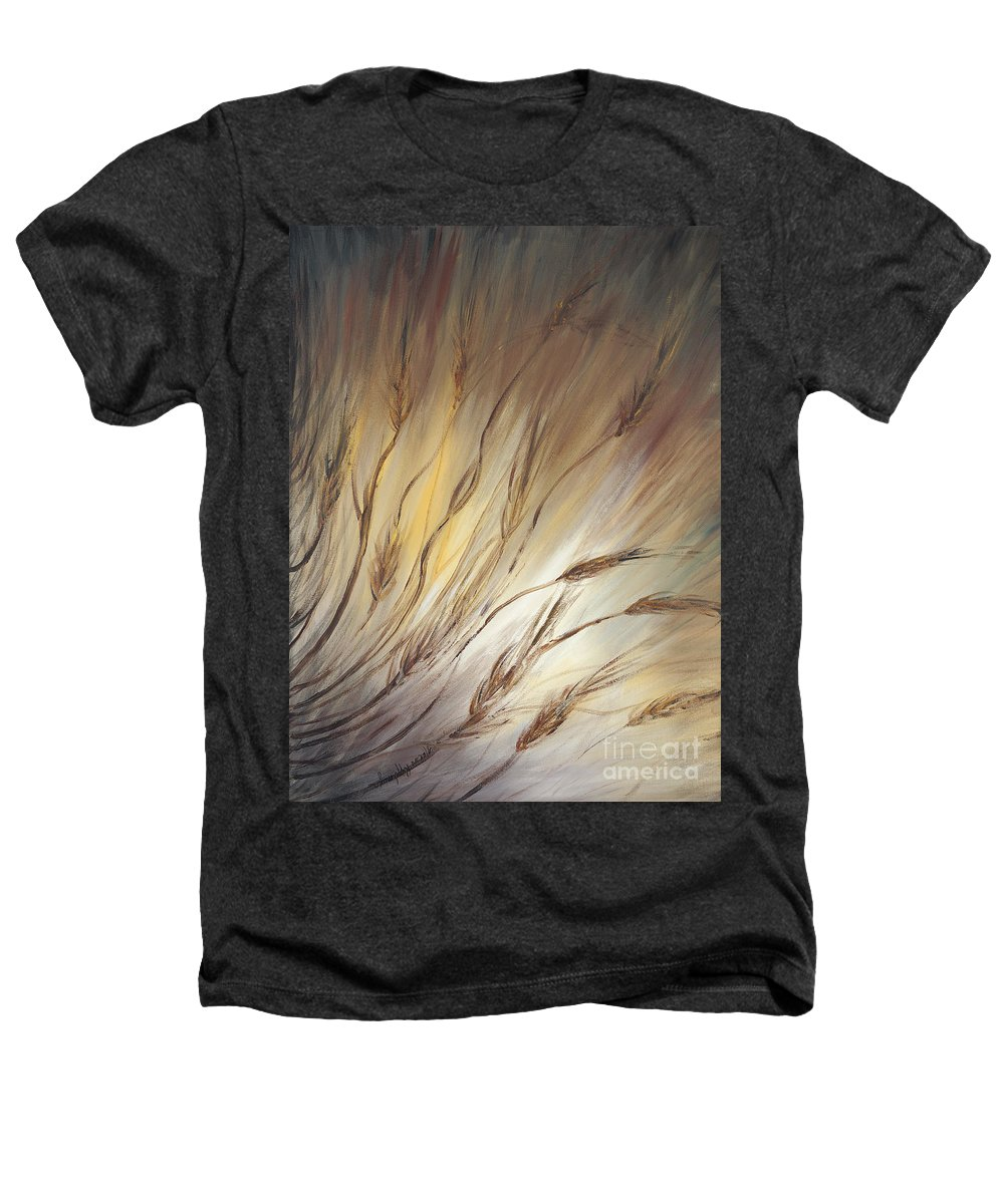 Wheat Heathers T-Shirt featuring the painting Wheat In The Wind by Nadine Rippelmeyer