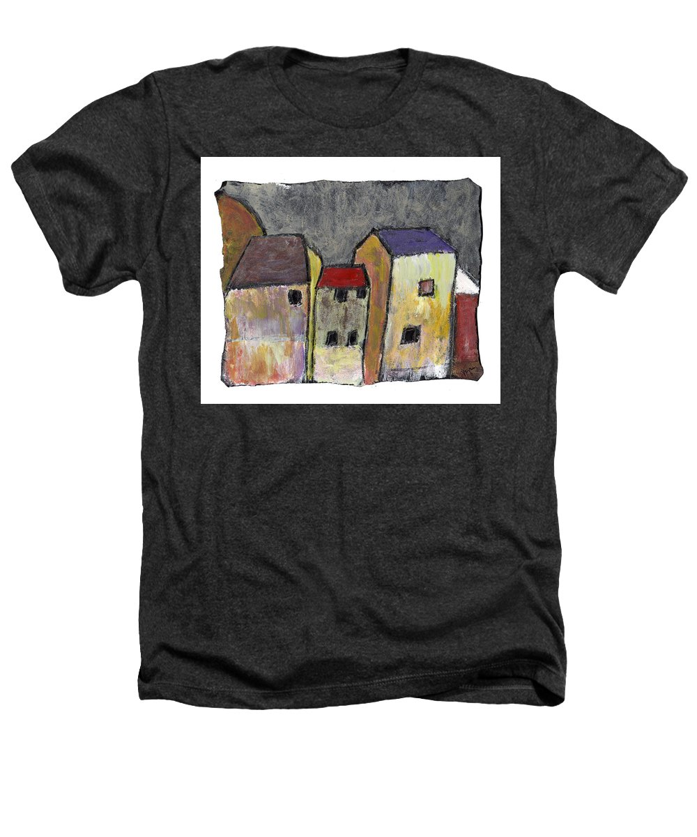 Buildings Heathers T-Shirt featuring the painting Where Once There Was by Wayne Potrafka