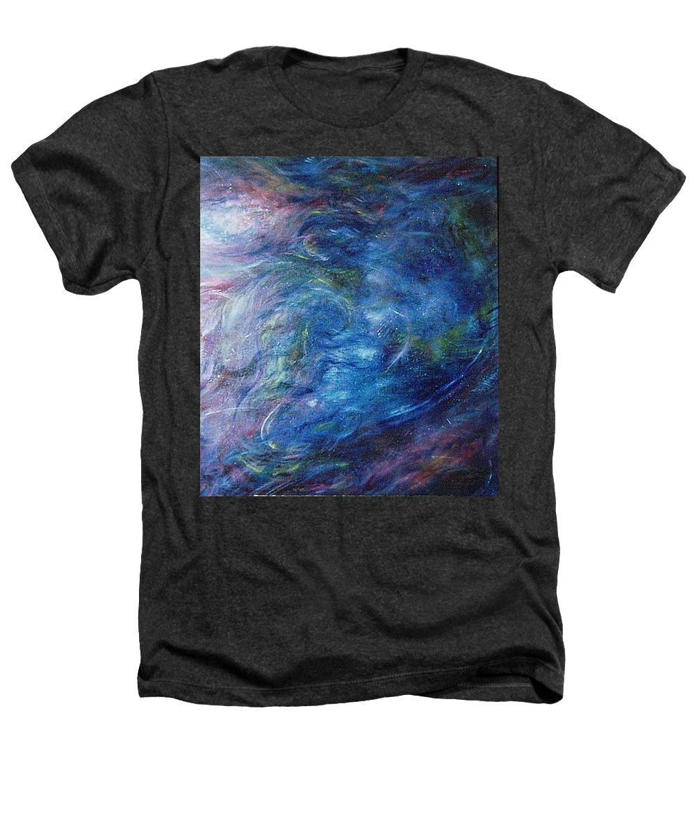 Abstract Heathers T-Shirt featuring the painting Whispers In A Sea Of Blue by Nancy Mueller