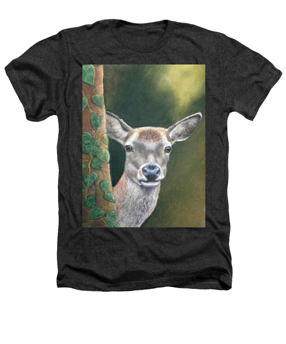 Rainforest Heathers T-Shirt featuring the painting White Tail Doe At Ancon Hill by Ceci Watson