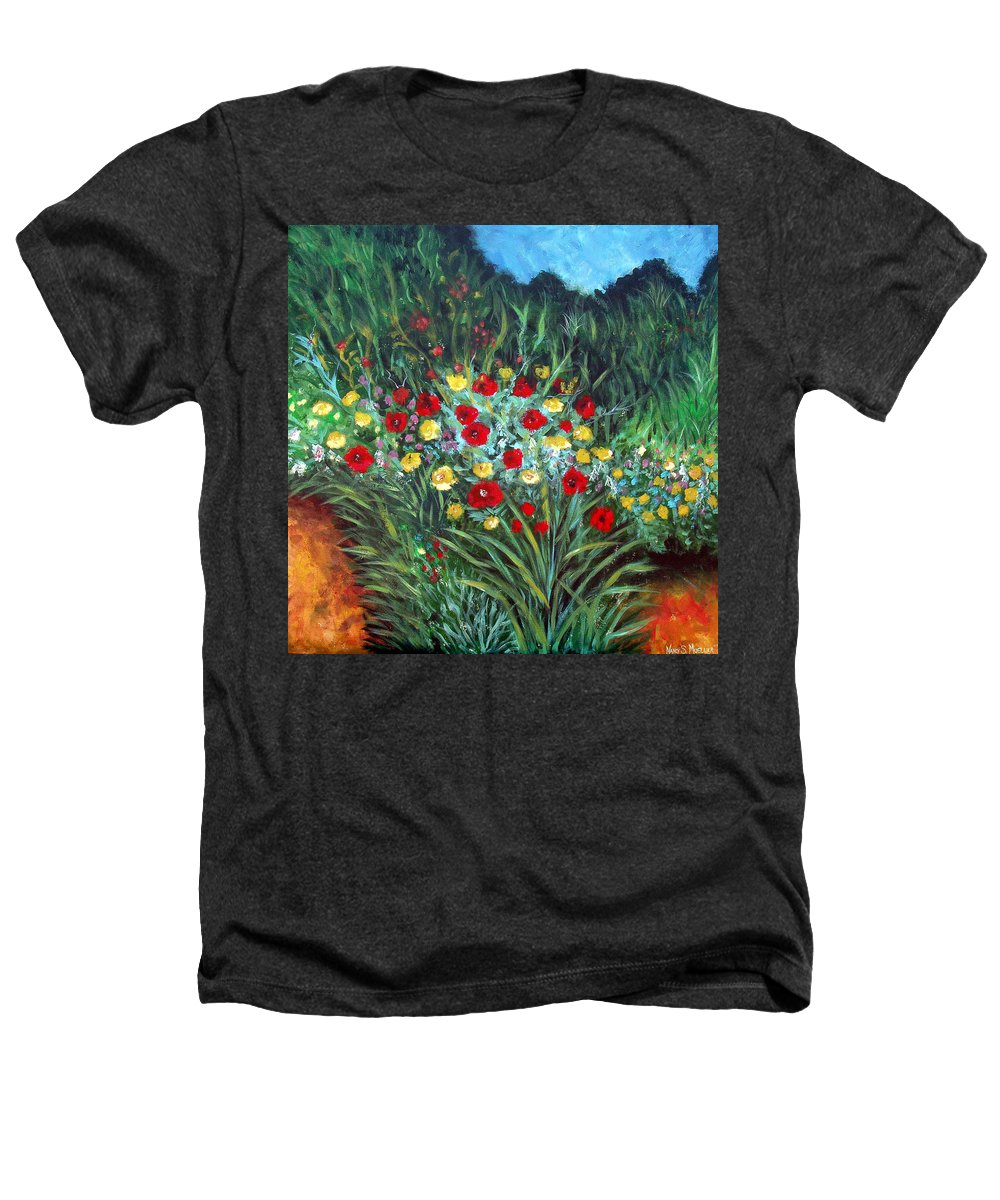 Abstract Heathers T-Shirt featuring the painting Wildflower Garden 1 by Nancy Mueller
