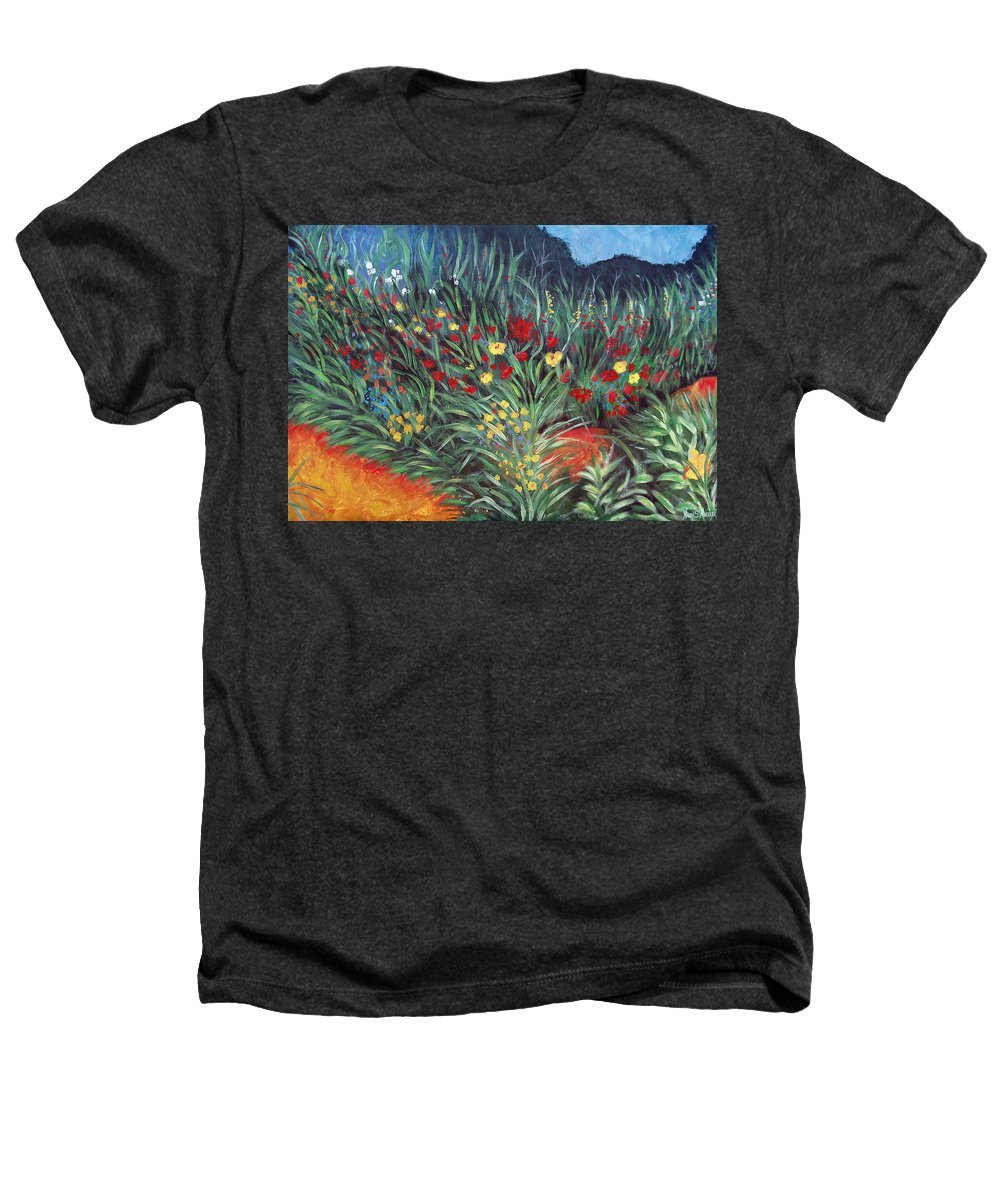 Landscape Heathers T-Shirt featuring the painting Wildflower Garden 2 by Nancy Mueller