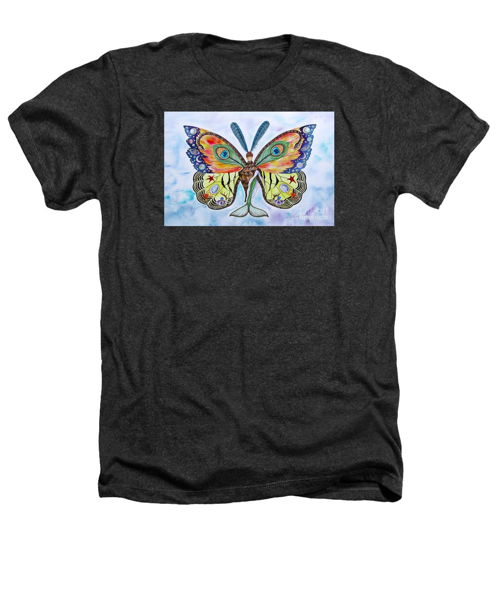 Butterfly Heathers T-Shirt featuring the painting Winged Metamorphosis by Lucy Arnold