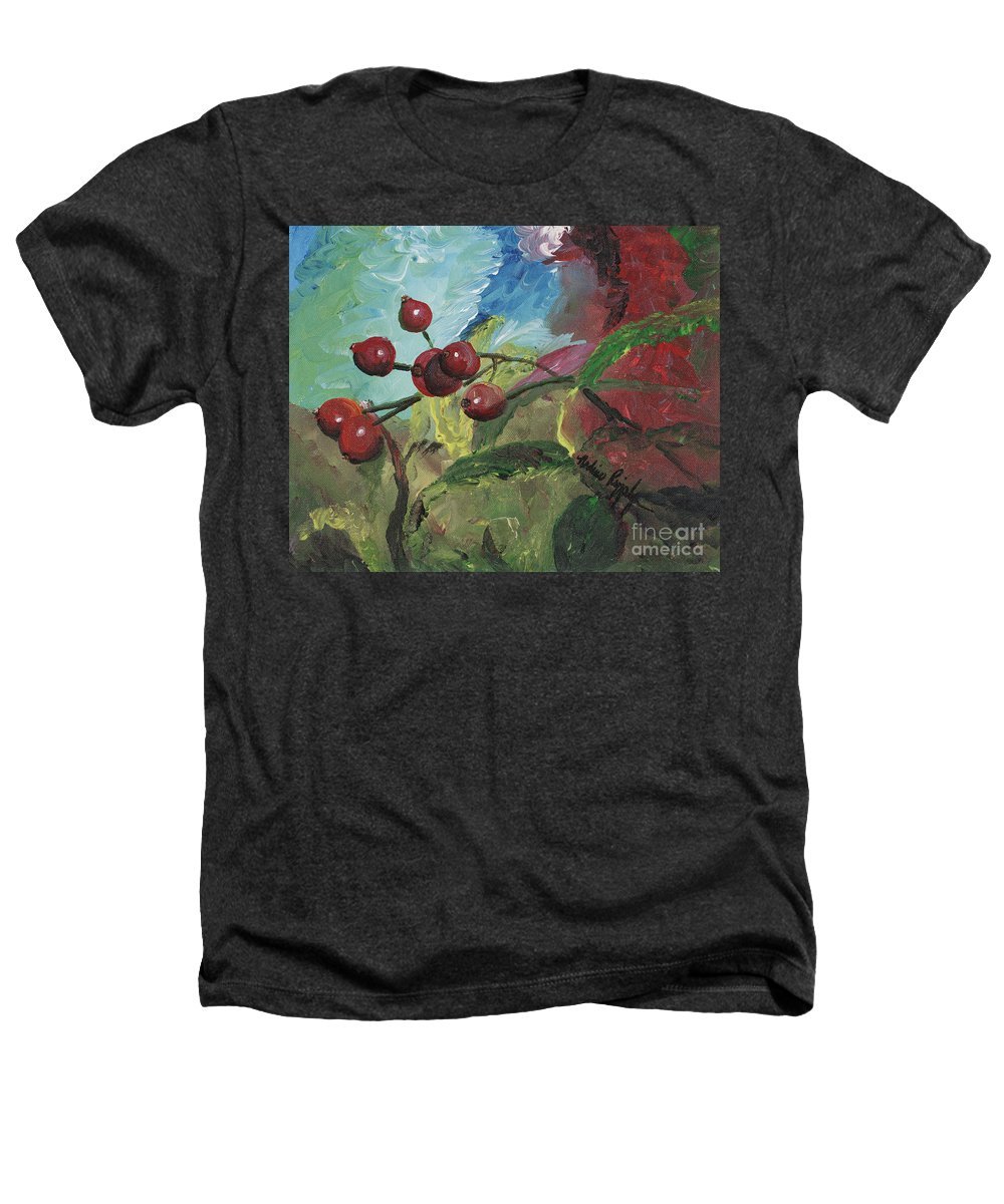 Berries Heathers T-Shirt featuring the painting Winter Berries by Nadine Rippelmeyer
