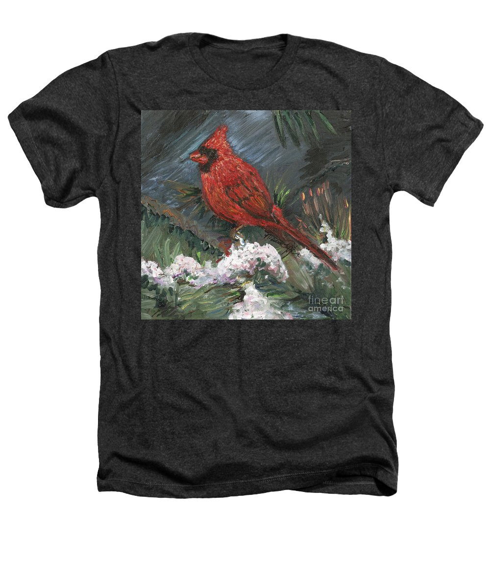Bird Heathers T-Shirt featuring the painting Winter Cardinal by Nadine Rippelmeyer