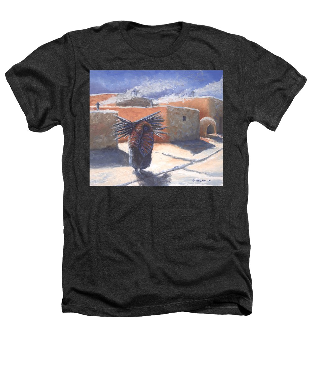 Adobe Heathers T-Shirt featuring the painting Winter's Work by Jerry McElroy