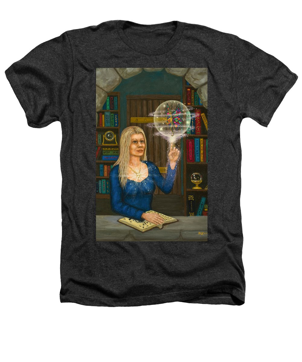 Magic Heathers T-Shirt featuring the digital art Wizards Library by Roz Eve