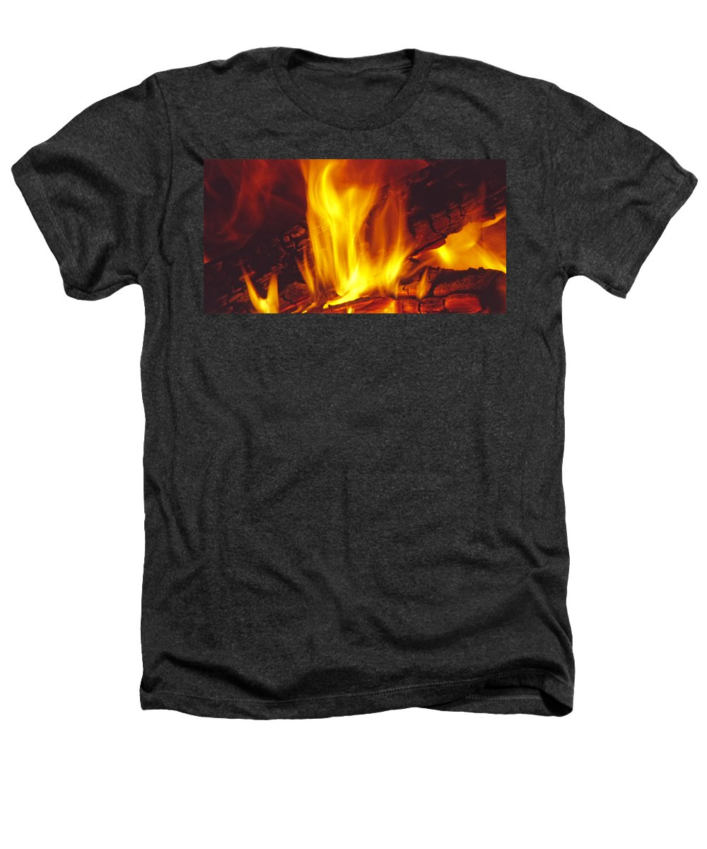 Fire Heathers T-Shirt featuring the photograph Wood Stove - Blazing Log Fire by Steve Ohlsen