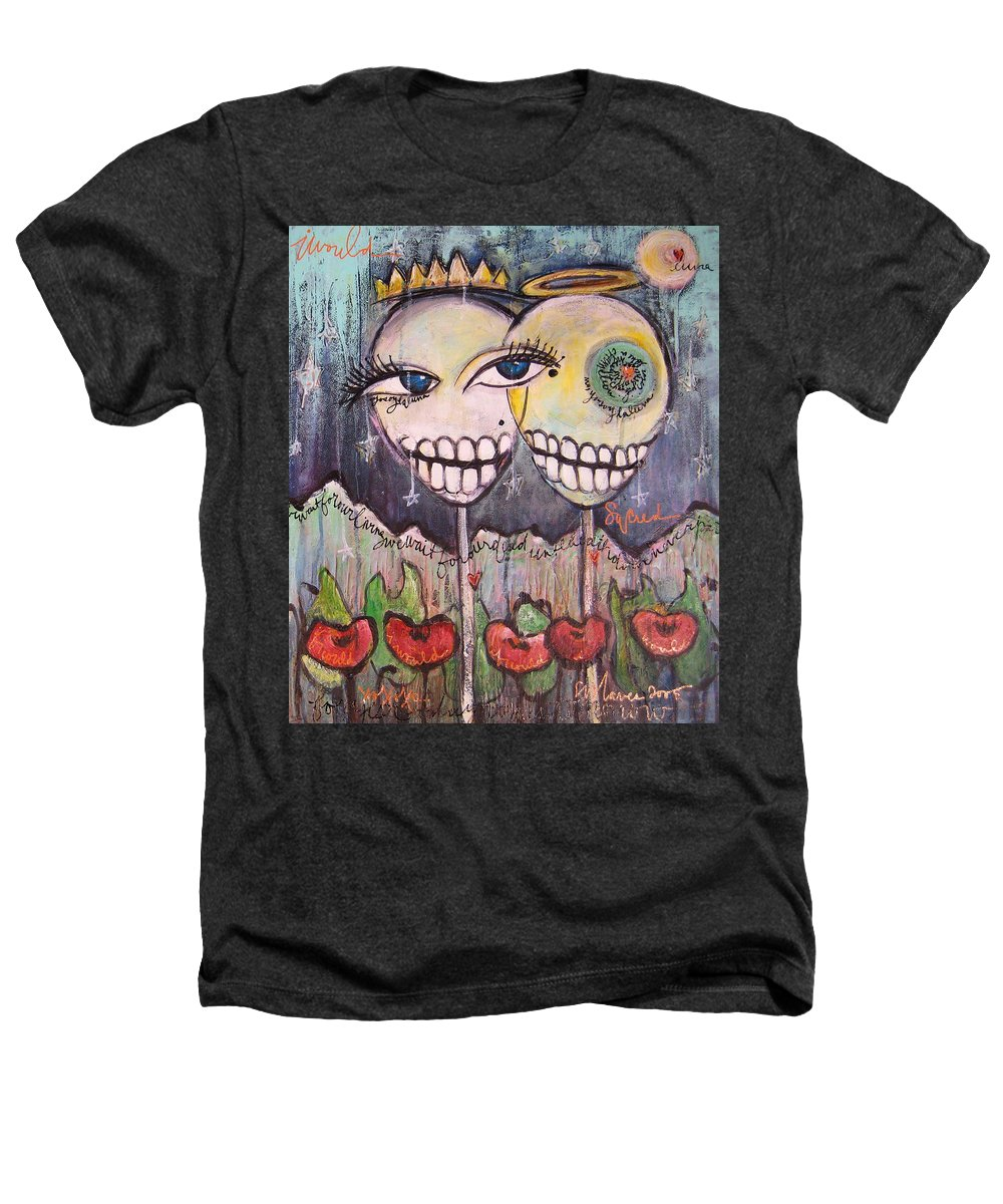 Skull Heads Heathers T-Shirt featuring the painting Yo Soy La Luna by Laurie Maves ART