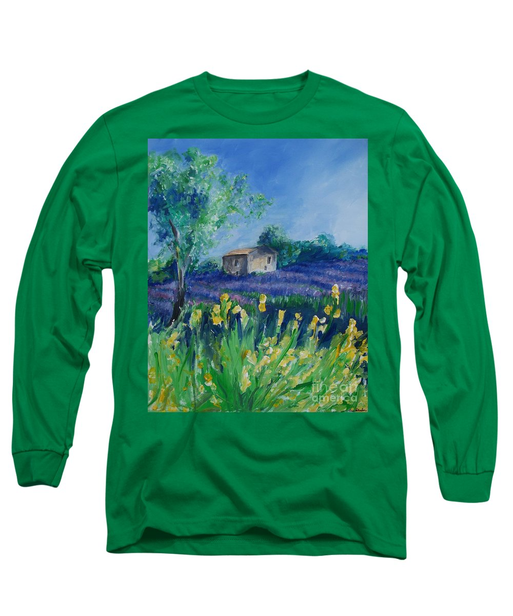 Provence Long Sleeve T-Shirt featuring the painting Provence Lavender Field by Eric Schiabor