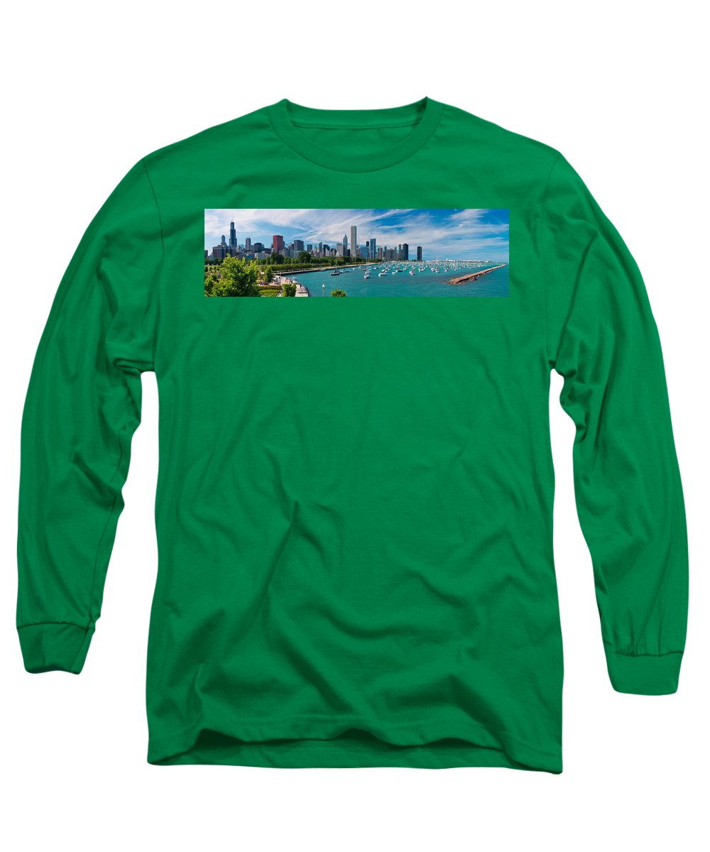 3scape Long Sleeve T-Shirt featuring the photograph Chicago Skyline Daytime Panoramic by Adam Romanowicz