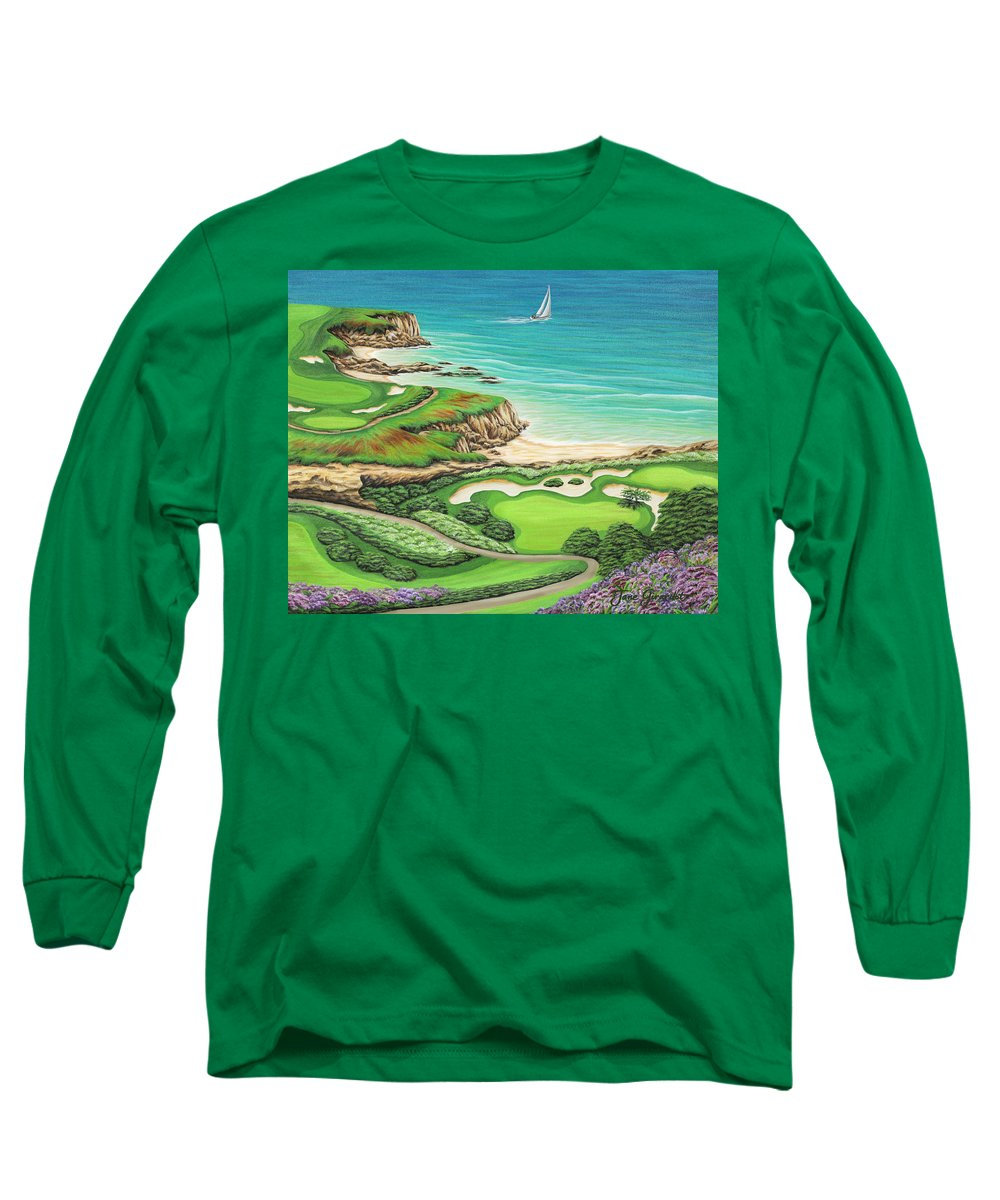 Ocean Long Sleeve T-Shirt featuring the painting Newport Coast by Jane Girardot