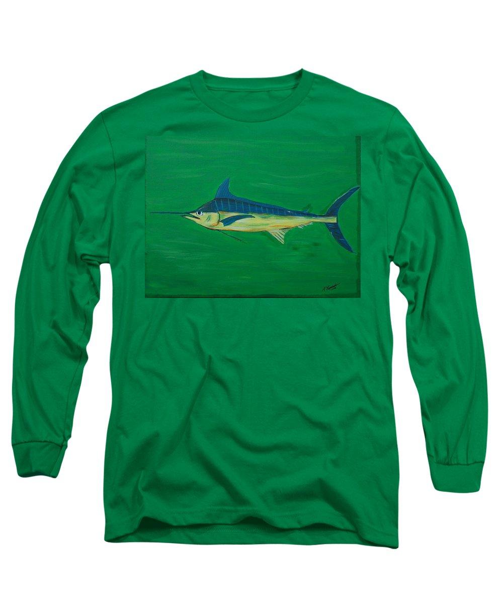 Blue Marlin Long Sleeve T-Shirt featuring the painting Big Fish by Angela Miles Varnado