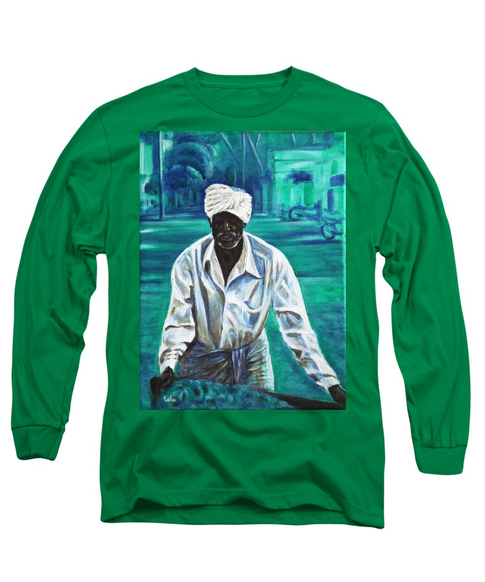 Indian Long Sleeve T-Shirt featuring the painting Cart Vendor by Usha Shantharam