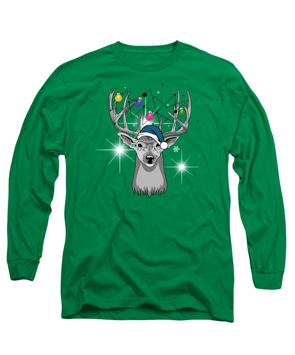 Christmas Long Sleeve T-Shirt featuring the painting Christmas Deer by Mark Ashkenazi