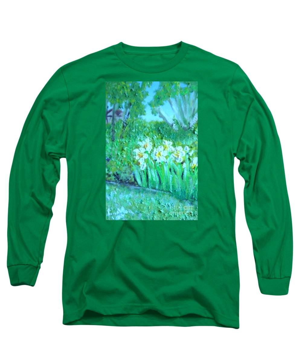 Daffodils Long Sleeve T-Shirt featuring the painting Dependable Daffodils by Laurie Morgan