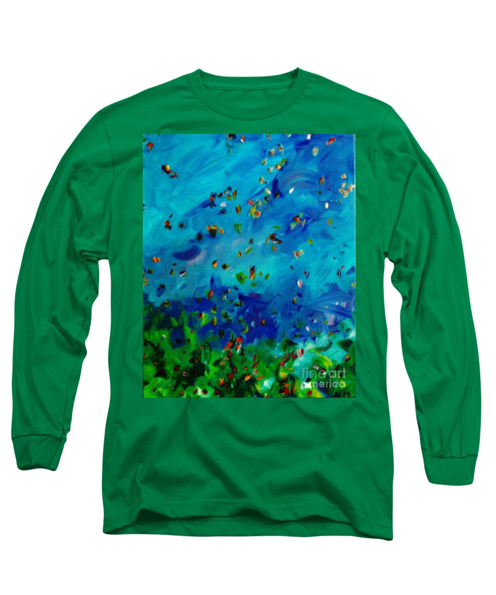 Landscape Long Sleeve T-Shirt featuring the painting Freelancing by Reina Resto