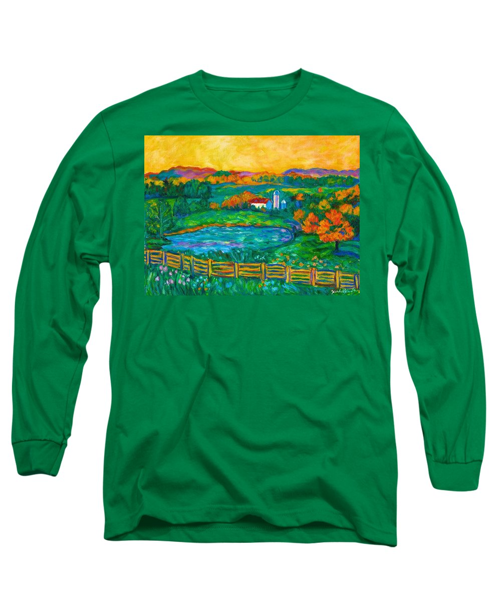 Landscape Long Sleeve T-Shirt featuring the painting Golden Farm Scene Sketch by Kendall Kessler