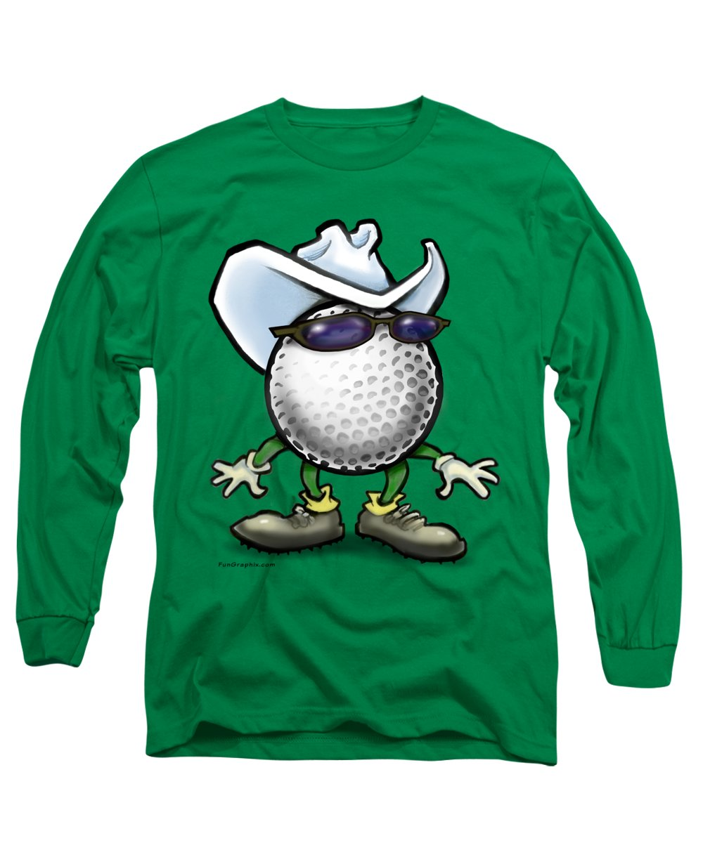 Golf Long Sleeve T-Shirt featuring the digital art Golf Cowboy by Kevin Middleton