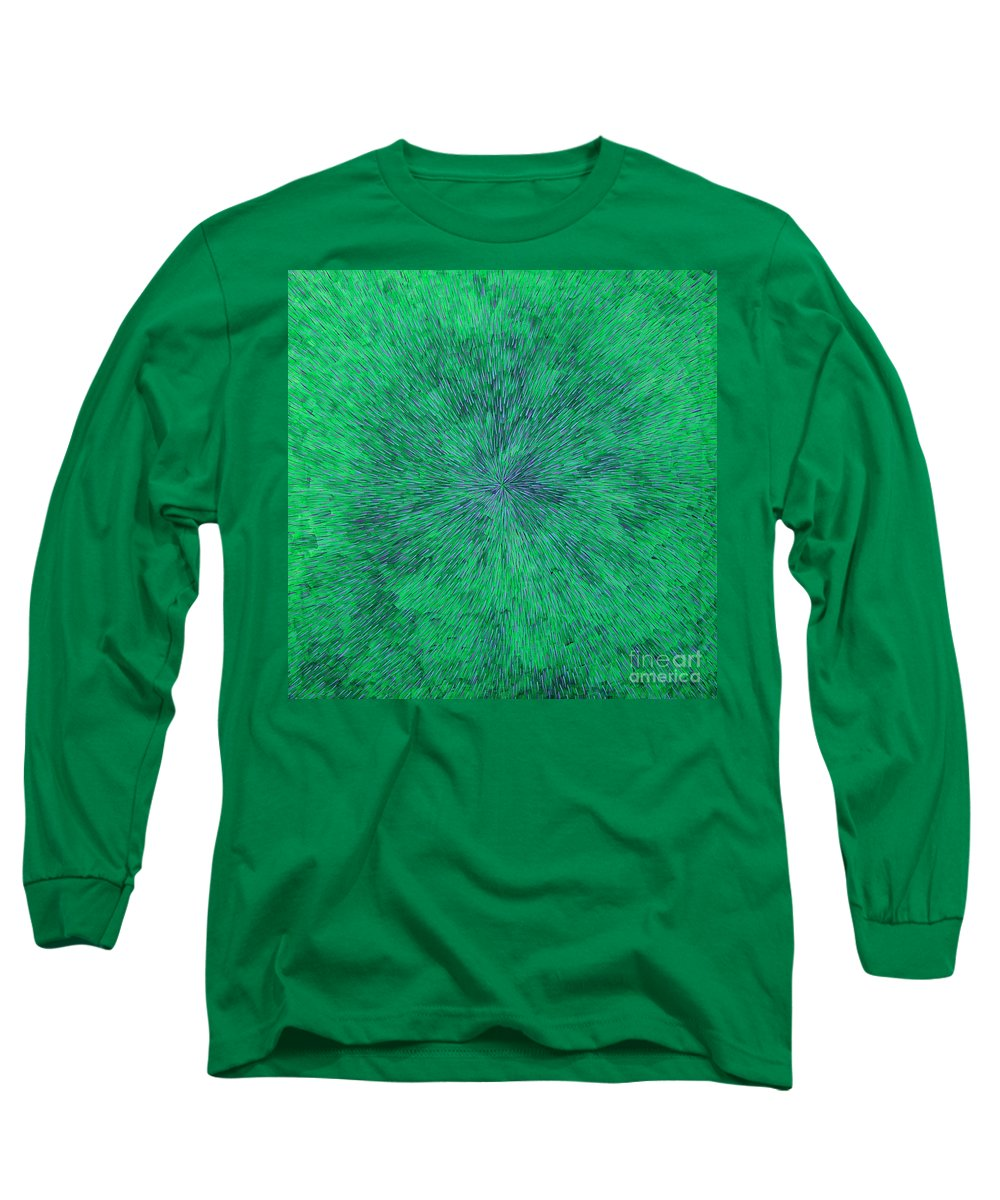 Abstract Long Sleeve T-Shirt featuring the painting Green Radation With Violet by Dean Triolo