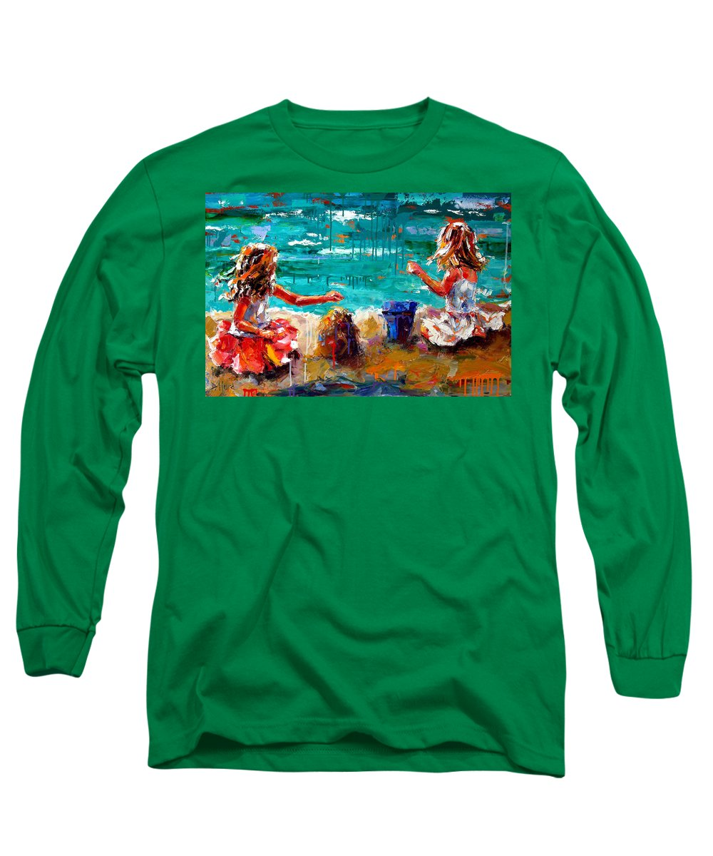 Seascape Long Sleeve T-Shirt featuring the painting Her Blue Bucket by Debra Hurd