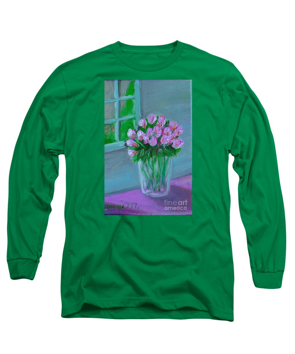 Rose Long Sleeve T-Shirt featuring the painting Leslie's Roses by Laurie Morgan