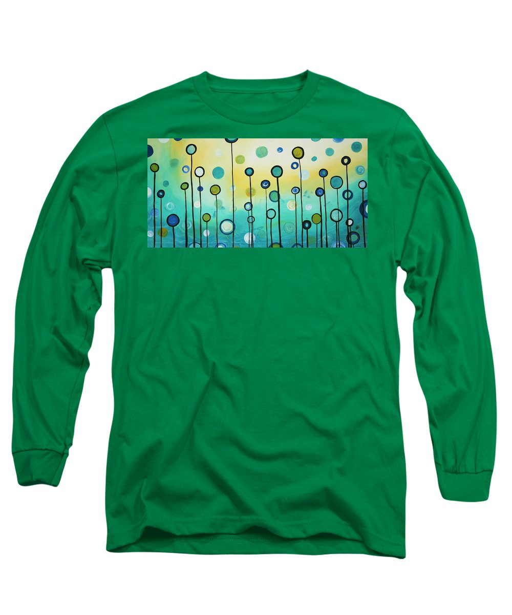 Abstract Long Sleeve T-Shirt featuring the painting Lollipop Field By Madart by Megan Duncanson