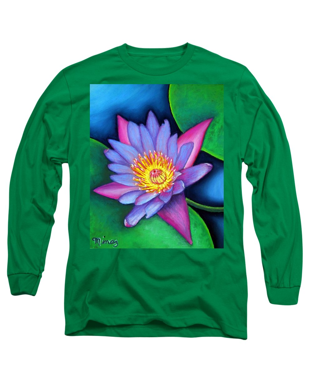 Flower Long Sleeve T-Shirt featuring the painting Lotus Divine by Minaz Jantz
