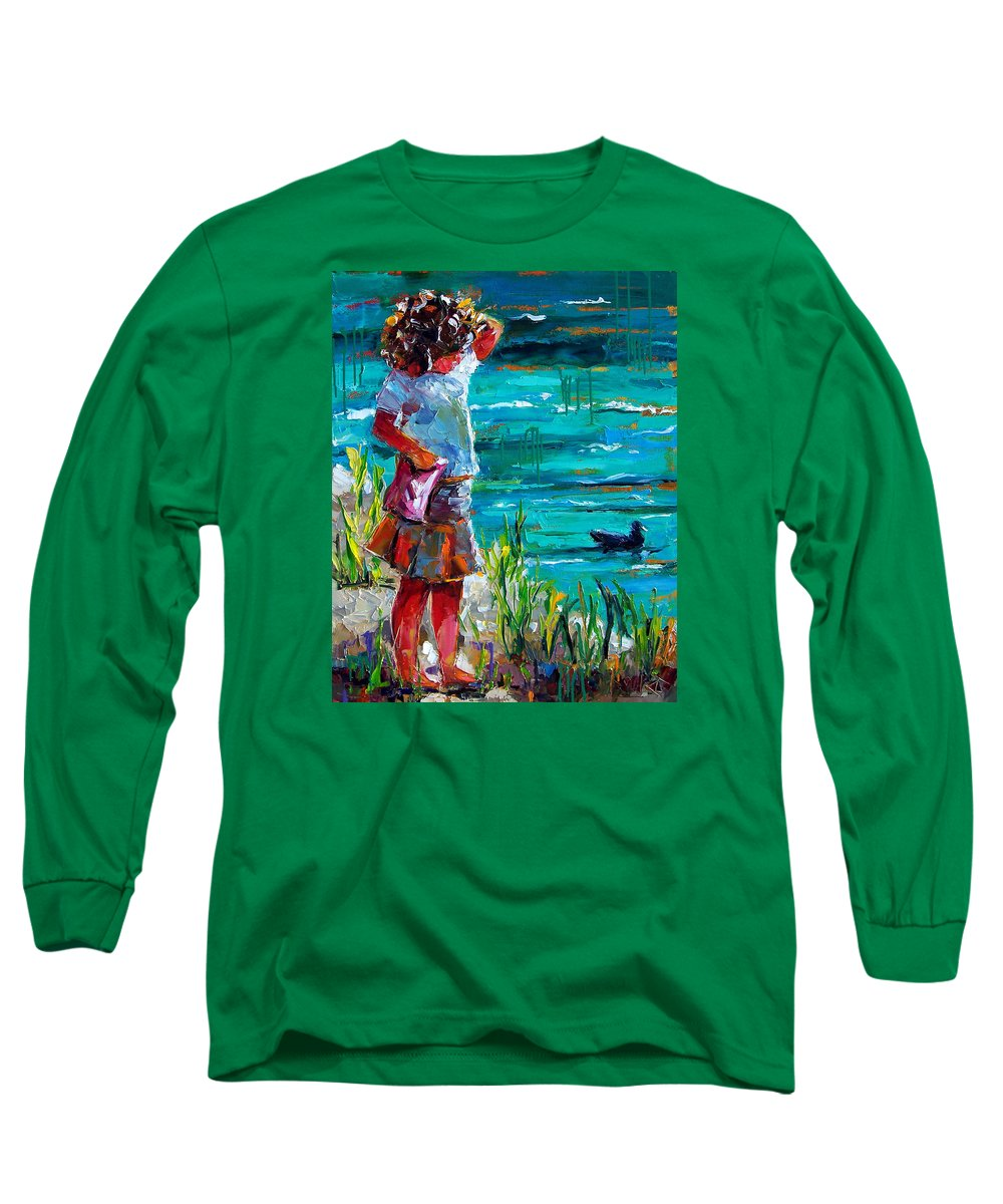 Children Long Sleeve T-Shirt featuring the painting One Lucky Duck by Debra Hurd