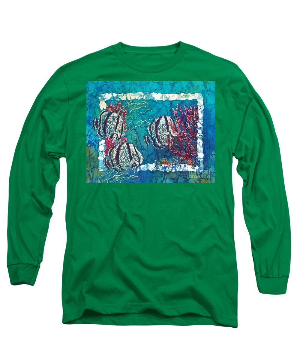 Fish Long Sleeve T-Shirt featuring the painting Playful Trio by Sue Duda