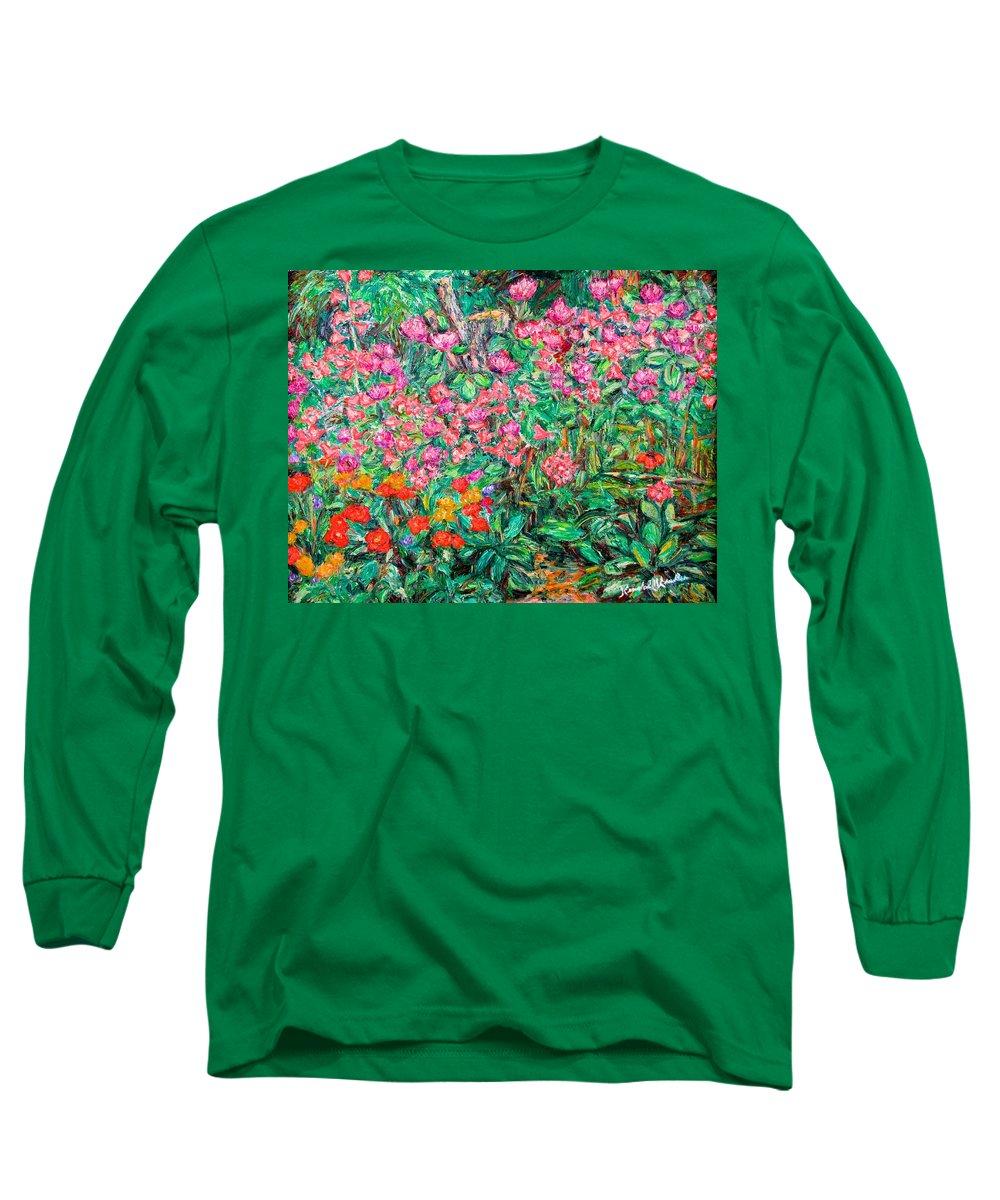 Kendall Kessler Long Sleeve T-Shirt featuring the painting Radford Flower Garden by Kendall Kessler
