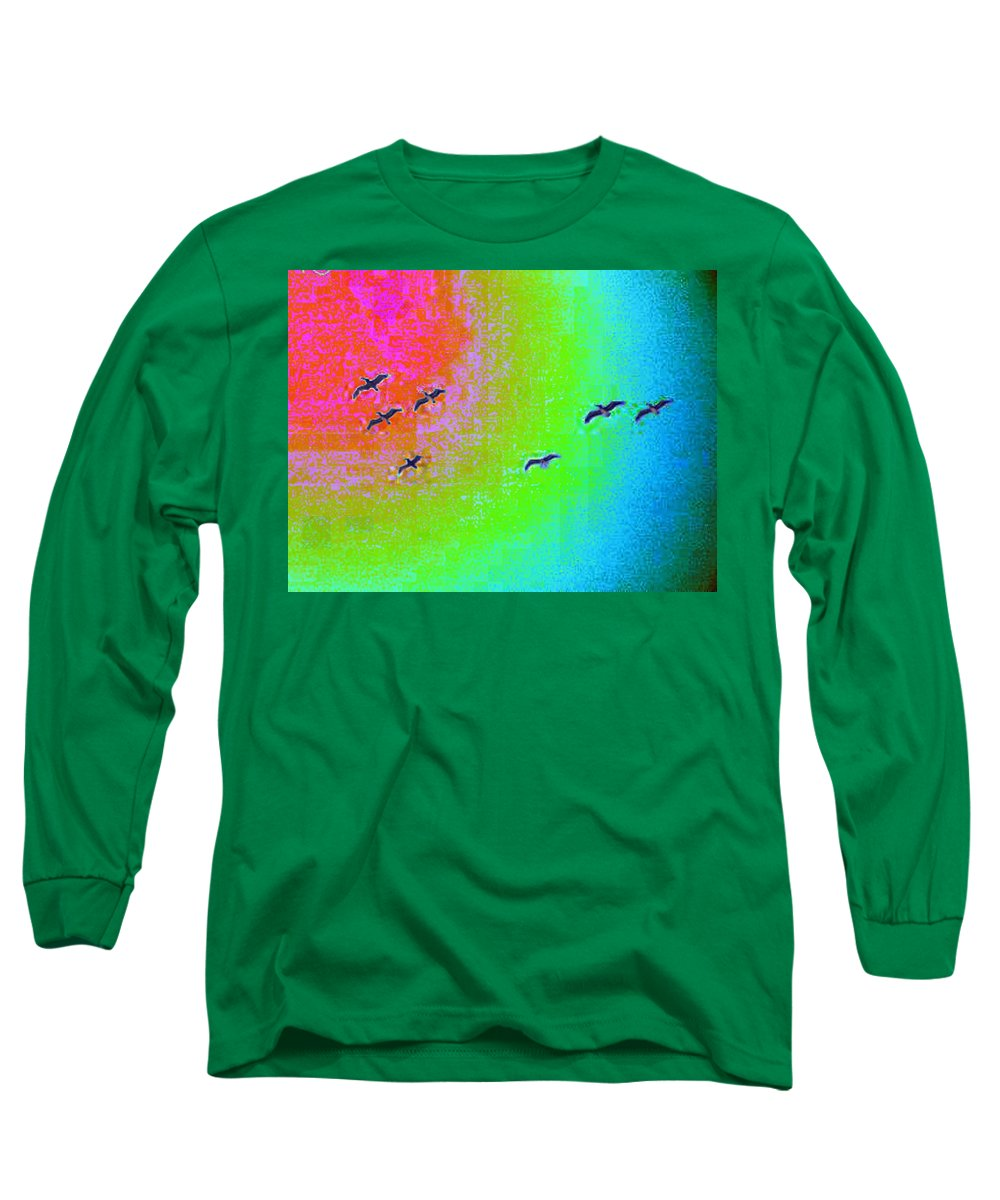 Birds Long Sleeve T-Shirt featuring the photograph Rainbow Gulls by Tim Allen