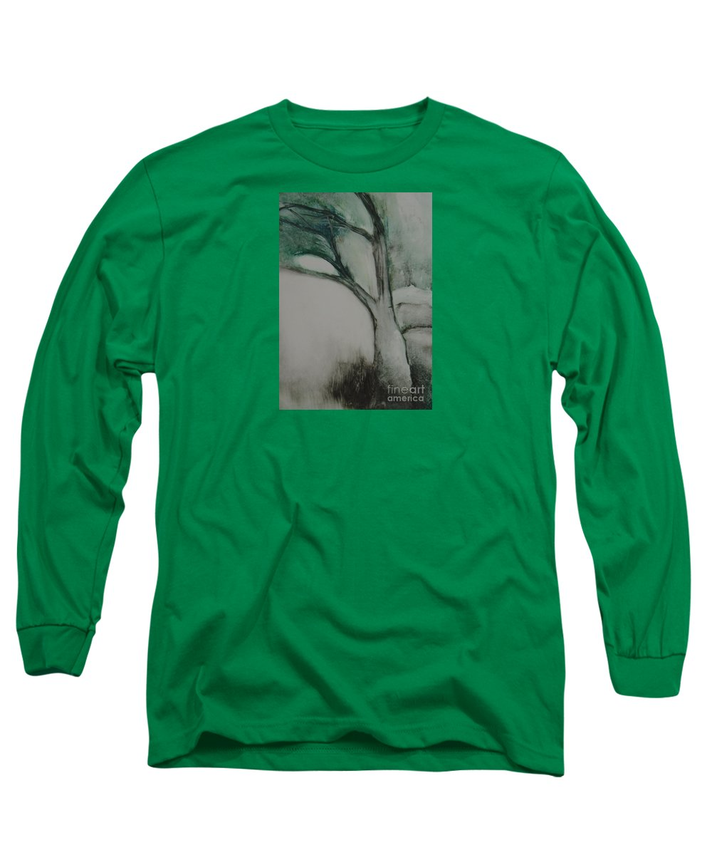 Monoprint Tree Rock Trees Long Sleeve T-Shirt featuring the painting Rock Tree by Leila Atkinson